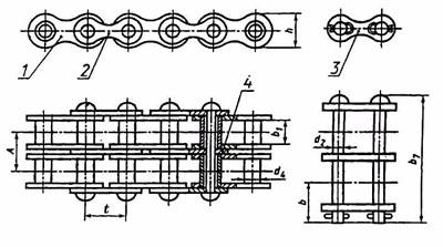 чертеж двухрядной цепи